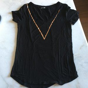 Kit & Ace black cashmere t shirt rose gold foil V